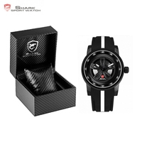 Luxury Leather Box Thresher SHARK Sport Watch Racing Layer 3D Wheel Design Dial Crown Quartz Silicone Band Men Watches/SH501 504