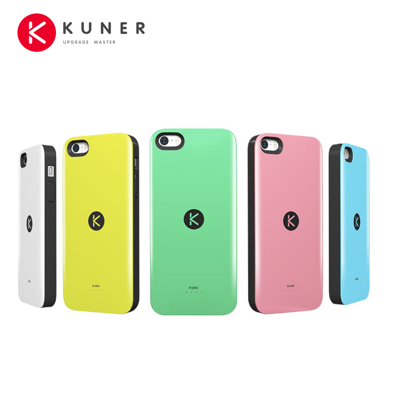 KUNER Colorful 1700mAh Rechargeable External Battery Backup Charger Case Pack Power Bank Fits for Apple iPhone