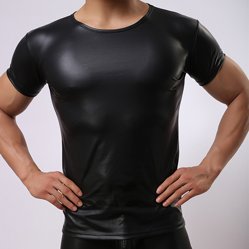 This t-shirt is made from the faux leather and mesh stitching ONEFIT Men Black Wet Look Short T-Shirt Faux Leather Nightwear Tops Undershirt. by ONEFIT. $ $ 14 99 Prime. FREE Shipping on eligible orders. Mens Leather Look Underwear Clubwear T-shirt Dance Top. Clearance! Hot sale!.