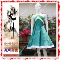 Fairy Tail Wendy Marvell Cosplay Costume Deep Green Custom Made Dress