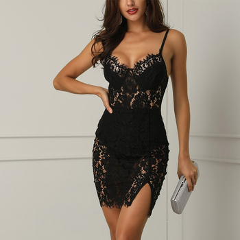 2020 Trendy Sexy Lace Summer Backless Strap Dress  2
