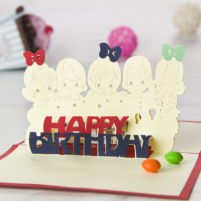 5p Lot Birthday Card Design New Hand Made Craft Post Card Folding