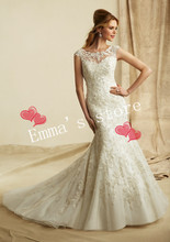 MORI-New Hot Free Shipping Fashion Custom Made 2013 A-Line Floor Length Train Beaded Lace White Weddding Gown DressesBride