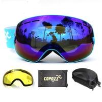 COPOZZ Brand Ski Goggles 2 Double Lens UV400 Anti Fog Spherical Ski Glasses Skiing Men Women