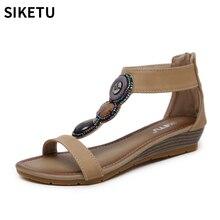 цены на Women's Summer Sandals New Wedges Cover Heel Design Shoes Female Fashion Crystal Sandals Comfortable Ladies open toe Sandals  в интернет-магазинах