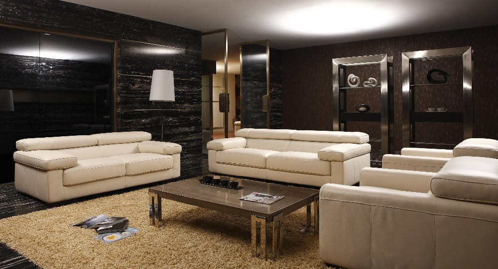 Cow genuine real leather sofa set living room sofa for Three room set design