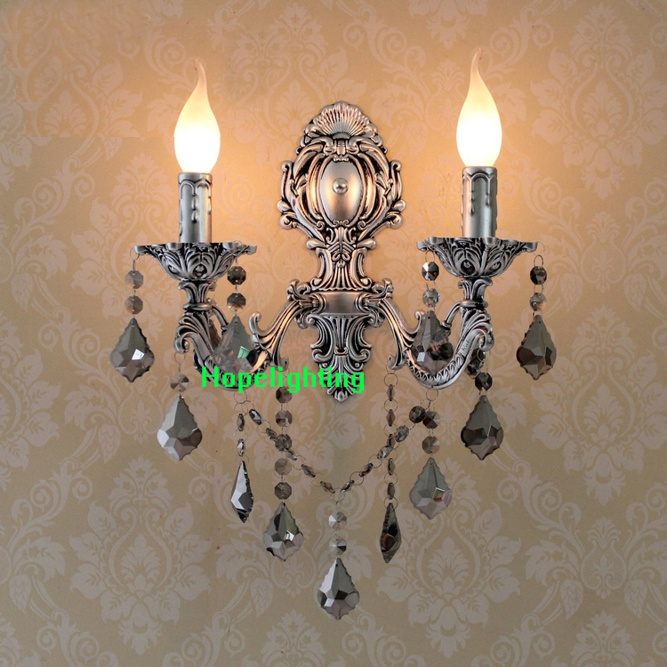 Europe style wall mounted two arms wall sconces led Modern Wall lamp fashion crystal wall lights silver corridor free shipping crystal wall lamp gold modern bed lighting fashion wall mounted lamps e14 wall sconces