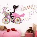 [SHIJUEHEZI] Fairy Girl Wall Stickers Vinyl DIY Butterflies Bicycle Mural Decals for Kids Rooms Kindergarten Bedroom Decoration