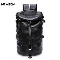 Мужская черная кожаная сумка для тренажерного зала, сумка для фитнеса из искусственной кожи, спортивный рюкзак, большая спортивная сумка че...