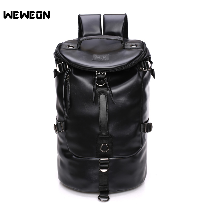 Men Black Leather Gym Fitness Handbag PU Sport Bucket Backpack Large Training Shoulder Soft Travel Cylinder Bags