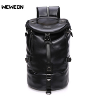 Men Black Leather Gym Fitness Handbag PU Sport Bucket Backpack Large Training Shoulder Soft Travel Cylinder Bags