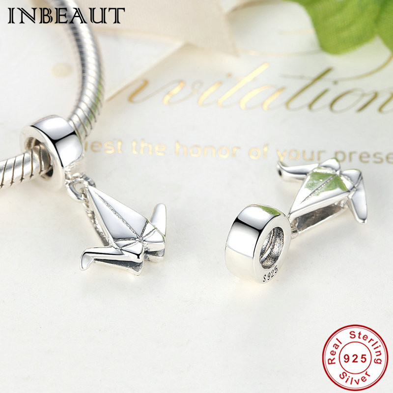 a4ee870e55b5 ... italy inbeaut new chic 925 sterling silver paper crane thread pendant  for necklaces women wedding chain ...