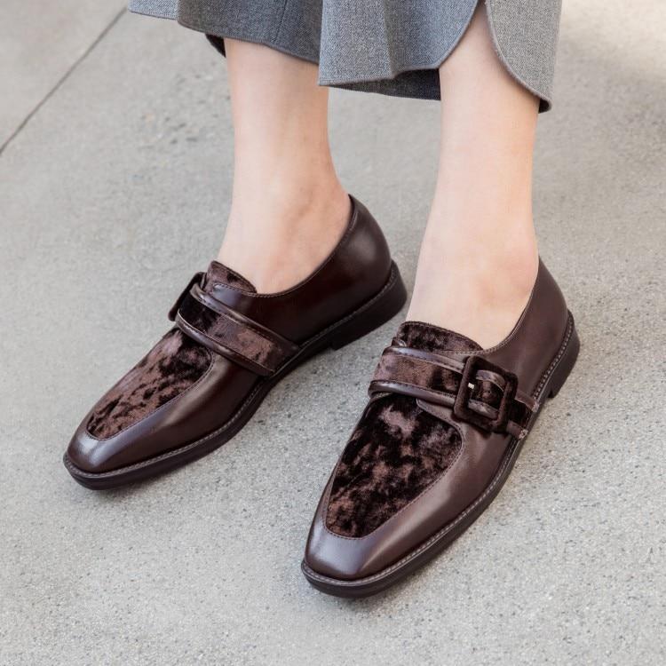 Confortable De Mocassins Femmes Carré Boucle chocolat Bout Chaussures Pour Travail Dames Sangle Noir En À Cuir Bureau r5UrnwqI