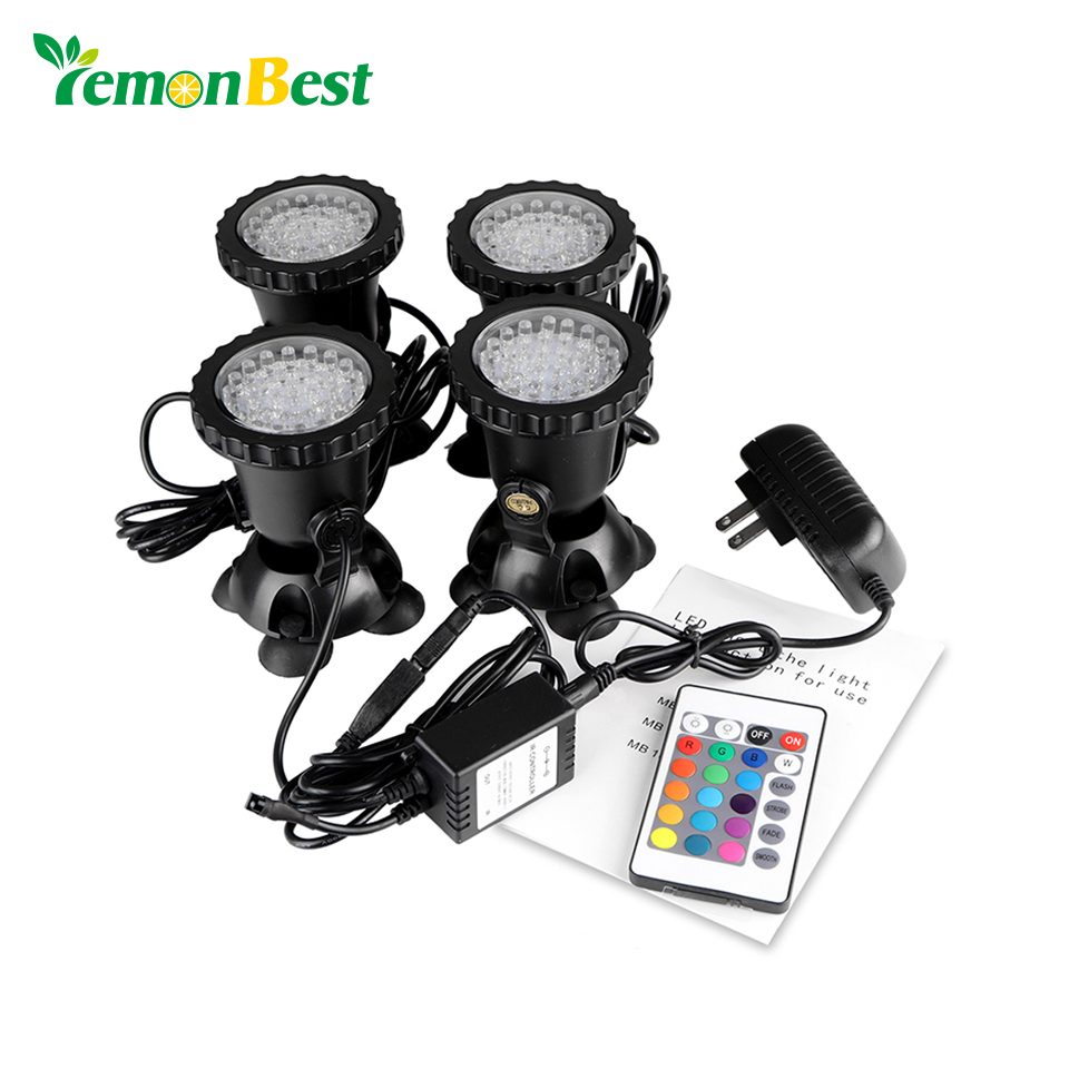 Punctual 4pcs Aquarium Led Lighting Remote Control Rgb 36-led Underwater Spot Light Ip68 For Water Garden Pond Fish Tank Light Relieving Heat And Sunstroke Lights & Lighting