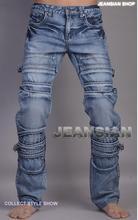 Zipper pocket Straight jeans man pants slim fashion mens denim jeans motorcycle Cat whisker true jean men long trousers splice
