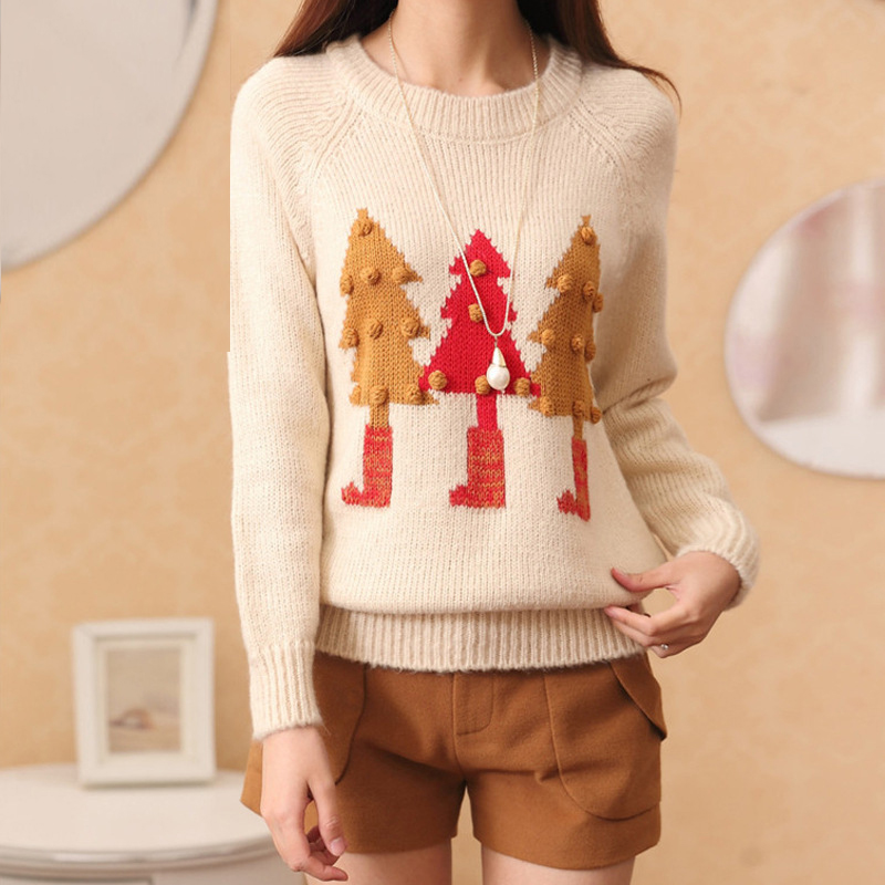 hot sale ladies cute christmas sweater with long sleeve patterns knitted cashmere sweater women pullover tunic pull femme 2015 in pullovers from womens
