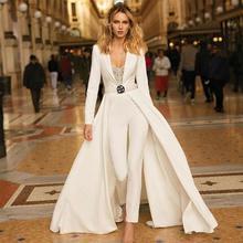 Глубокий v-образный вырез сексуальные Выпускные платья из атласа с длинным рукавом дизайнерские штаны костюмы на заказ вечерние платья