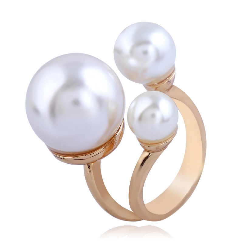 Minimalist Irregular Statement Wedding Rings for Women Large Imitation Pearl Gold Color Fashion Jewelry