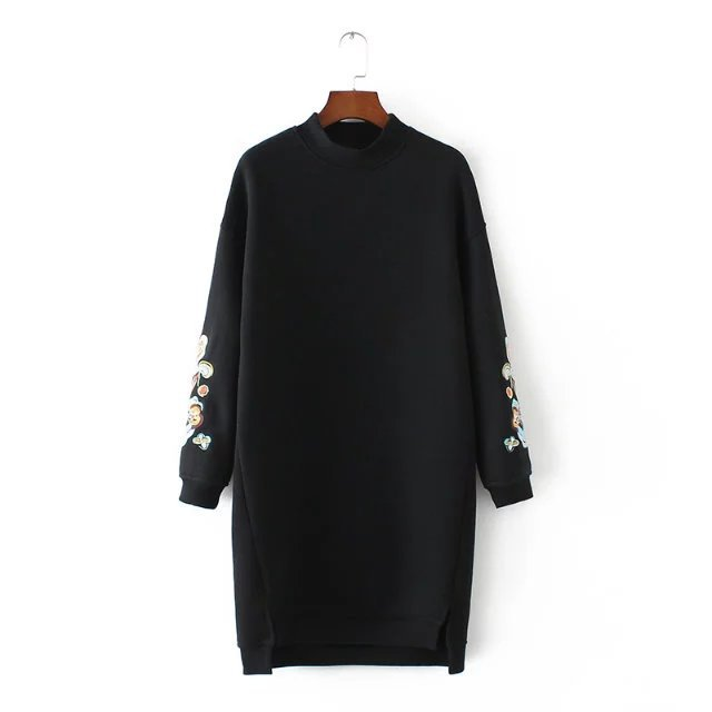 Embroidery Long Sleeve Loose Sweatshirt Dress 2