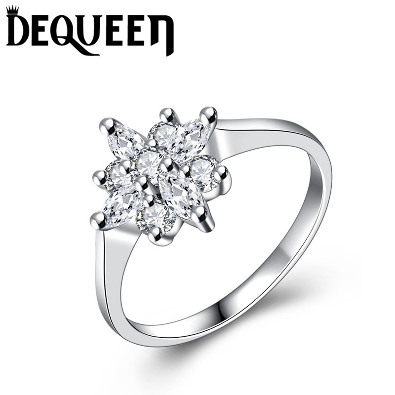 DEQUEEN Luxury AAA CZ Women Ring Jewelry Beautiful Flower Shape Whitegold Plated Cubic Zirconia Wedding Rings