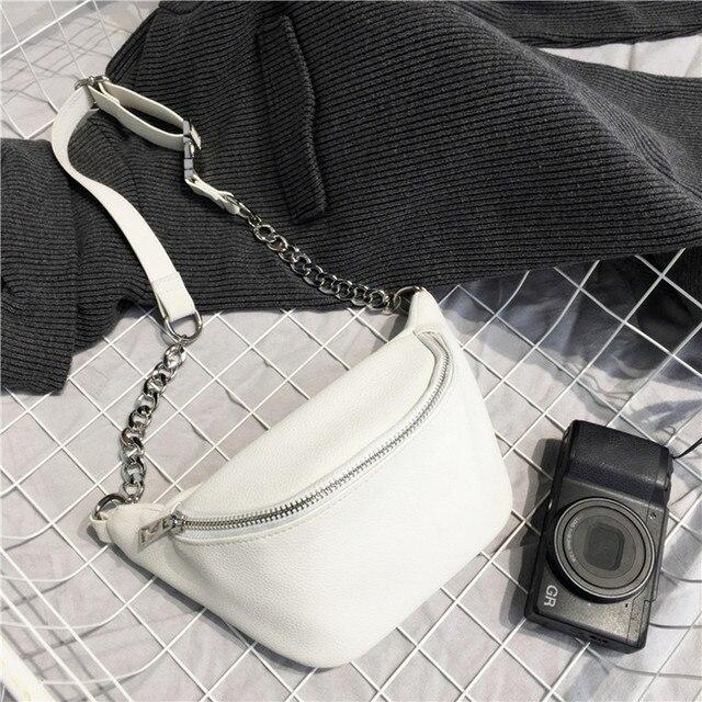 Chain PU Leather Waist Bag  1