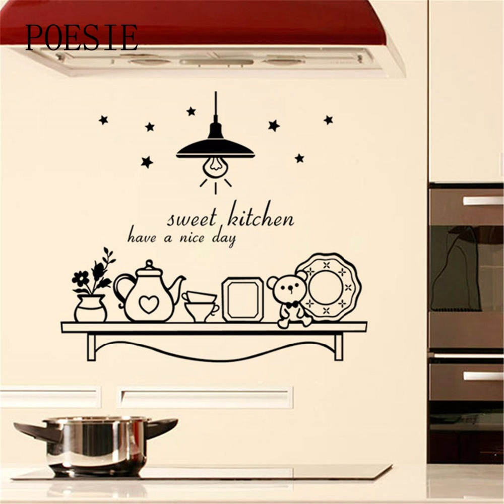 Kitchen Stickers Cute Star Flower Bear Poster Wall Sticker
