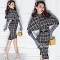 Le Palais Vintage 2016 Autumn New Elegant Gray Plaid Wool Bubble Slim Was Thin Dress + Department buckle Cloak Women's Sets