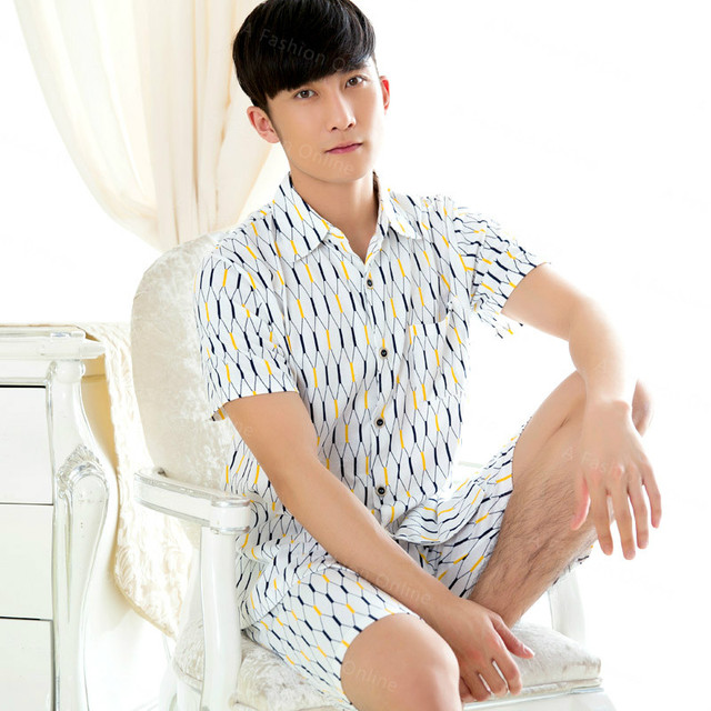 New Arrival Summer Mens Pajamas Shorts Suit  Pajama Sets Cotton Sleepwear Set Men's Sleepweare Lounge