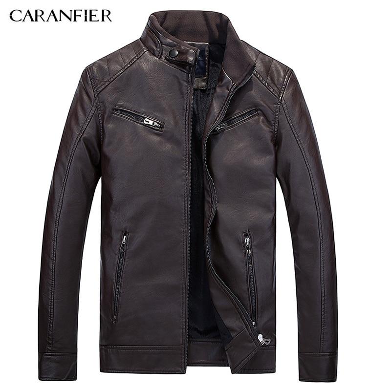 CARANFIER 2017 New Winter Leather Jacket Men Waterproof Fleece Warm male leather Jacket High Quality Coats Motorcycles Jackets