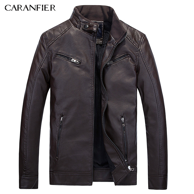 CARANFIER 2017 New Winter Leather Jacket Men Waterproof Fleece Warm male leather Jacket High Quality Coats Motorcycles Jackets
