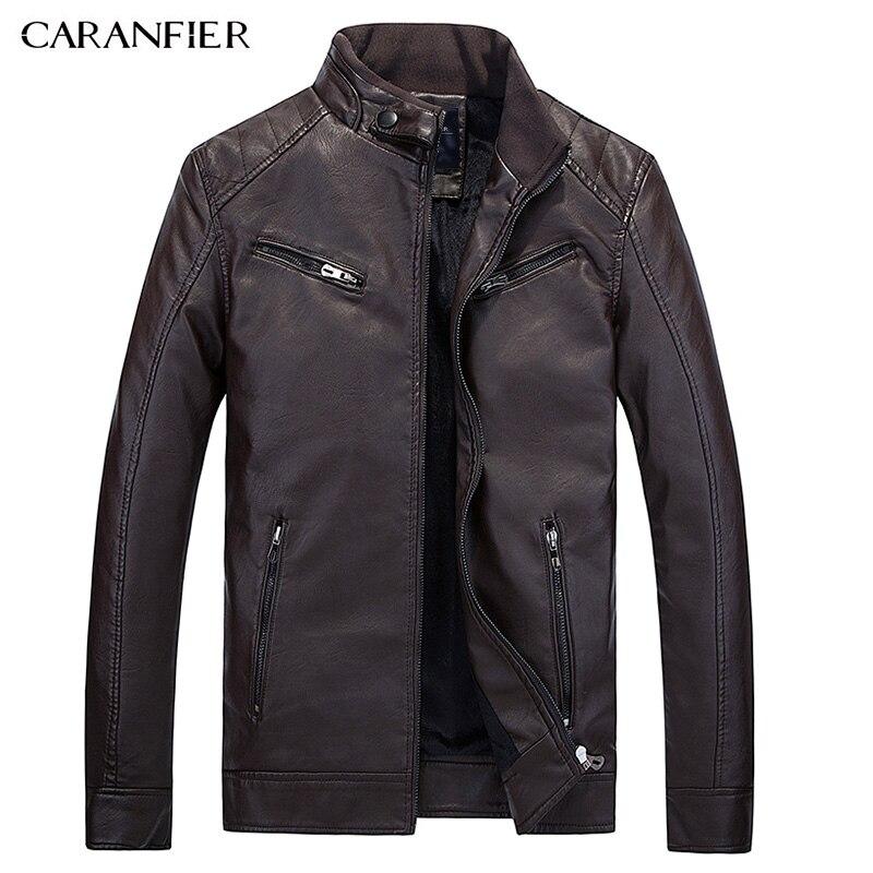 CARANFIER 2017 Nouvelle D'hiver En Cuir Veste Hommes Étanche Polaire Chaud mâle Veste en cuir de Haute Qualité Manteaux Motos Vestes