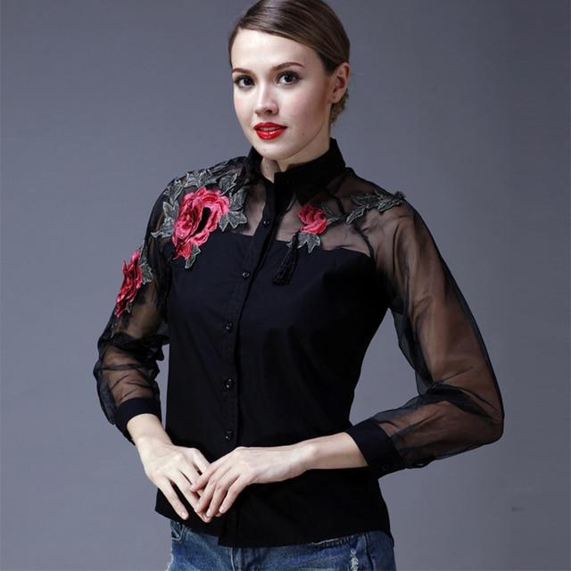 2017 봄 3d 자수 꽃 여성 셔츠 섹시한 관점 organza 메쉬 패치 워크 탑 여성 턴 다운 칼라 슬림 블라우스
