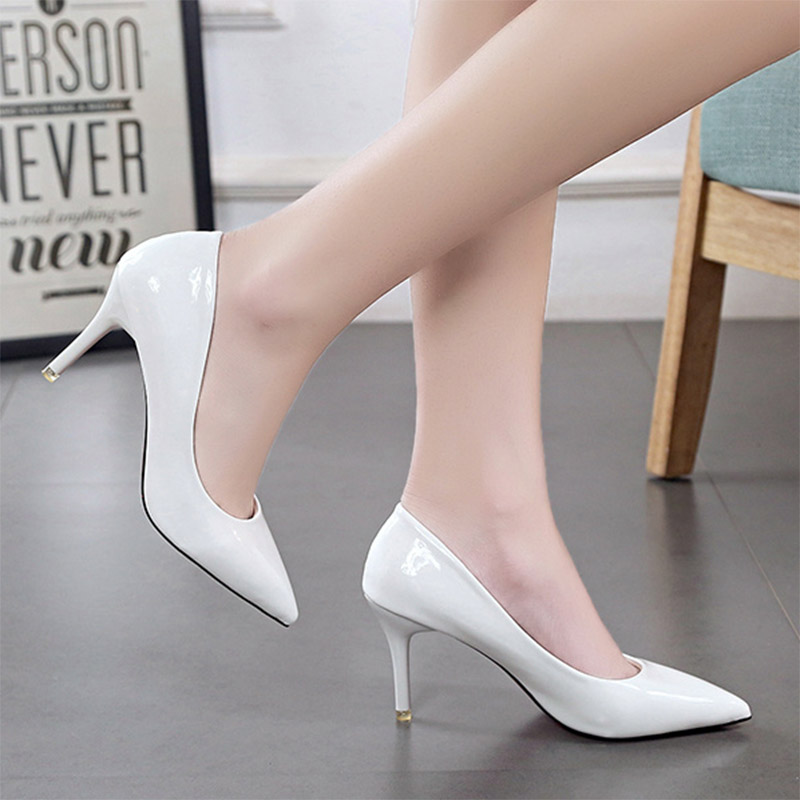 Plus Size 24-42 Women Shoes Pointed Toe Pumps Patent Leather Dress Shoes High Heels Boat Shoes Wedding shoes zapatos mujer 146 high heels