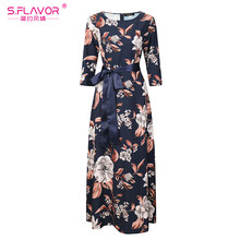 S.FLAVOR women flowers printing elegant dress good quality O-neck floor-length vestidos with belt women casual autumn vestidos(China)