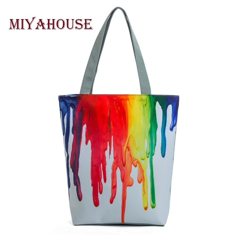 Miyahouse Harajuku Style Colorful Painting Shoulder Bag Women Large Capacity Shopping Bag Female Casual Tote Handbag