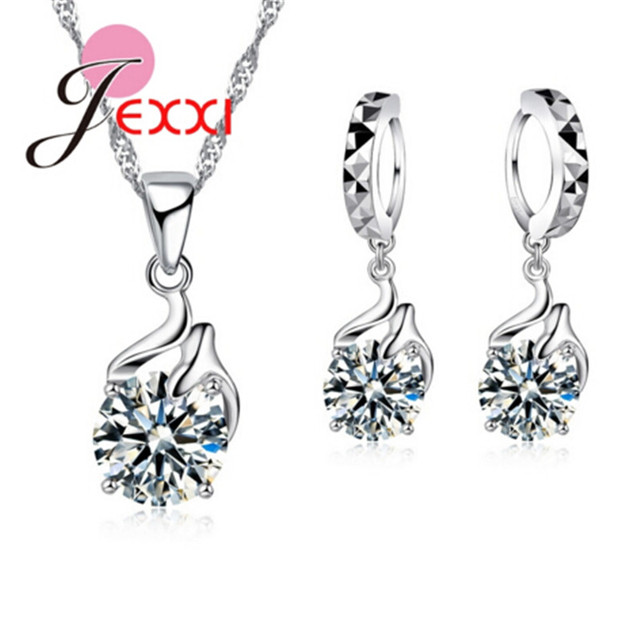 Hot Sale 925 Sterling V Shape Pendant Necklace Cubic Zirconia Drop Earrings for Women Brincos Bridal Party Jewelry Accessories