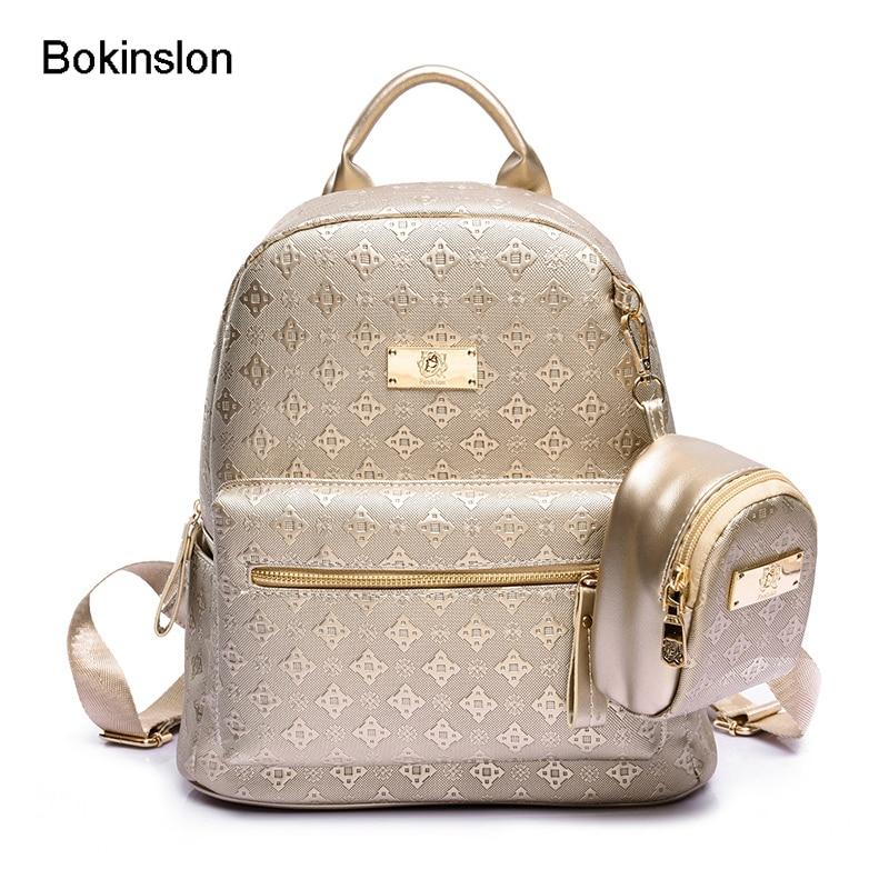 лучшая цена Bokinslon Womens Backpack School Bag PU Leathe Fashion School Girl Backpack Retro British Style Woman Travel Bag