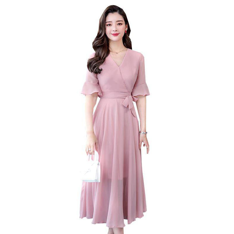 2019 New Summer Korean Women Sexy V Neck Long Dress Girl Chiffon Vestidos Romantic A Line Dresses Beach Evening Party Dress M223