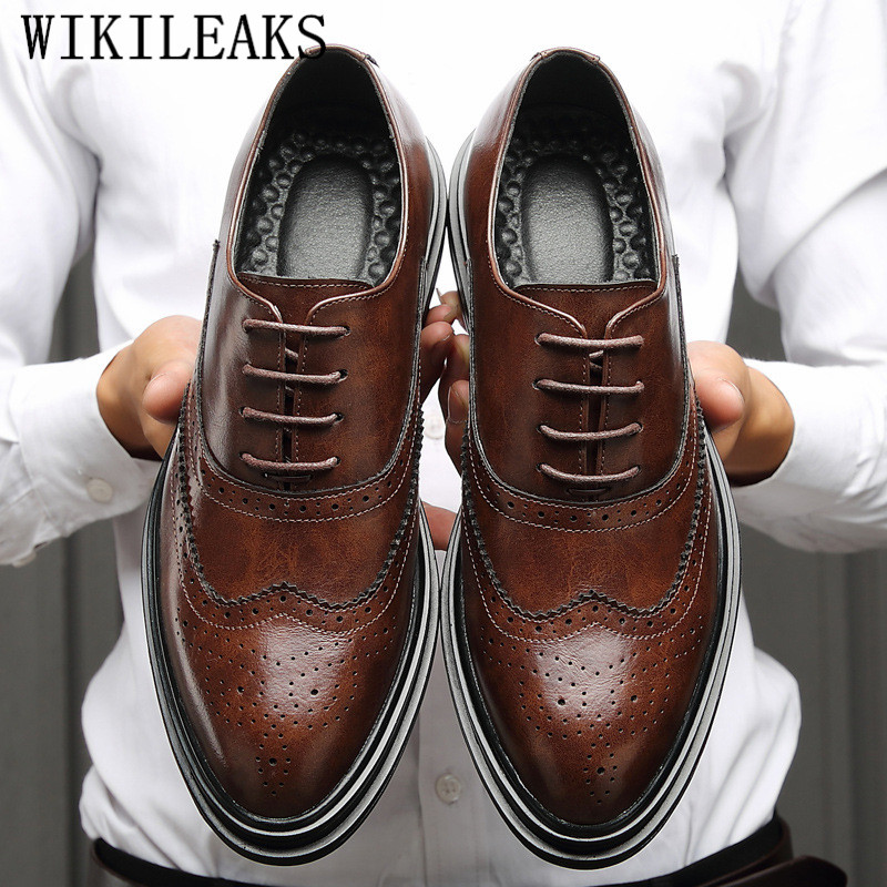 Genuine Leather Shoes Men Formal Shoes Men Oxford Shoes For Men Brogue Shoes Sapato Social Masculino Chaussures Hommes Pointu