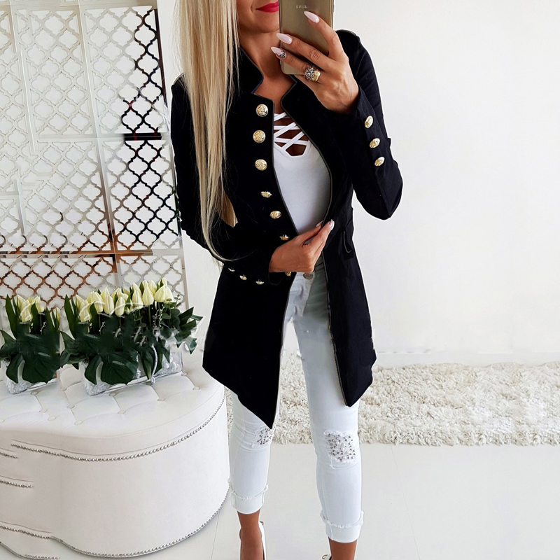 Lossky Women Jacket Blazers Slim Lady Office Wear Outwear Long Sleeve Stand Collar Formal Suit Long Black Red Autumn Spring Coat 3