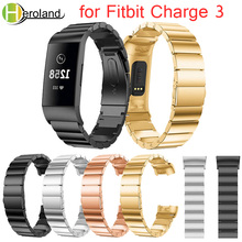 Купить с кэшбэком Replacement Luxury Stainless Steel Bands for Fitbit Charge 3 Wristbands  Metal Butterfly Closure smart Watch Band Strap bracelet