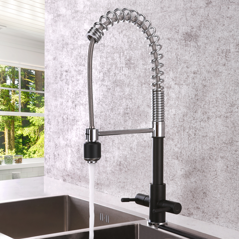 Black Kitchen Sink Faucet Dual Handles Cold and Hot Rotatable Sink Mixer Tap Deck Mounted Pull Down Brass Kitchen FaucetsBlack Kitchen Sink Faucet Dual Handles Cold and Hot Rotatable Sink Mixer Tap Deck Mounted Pull Down Brass Kitchen Faucets