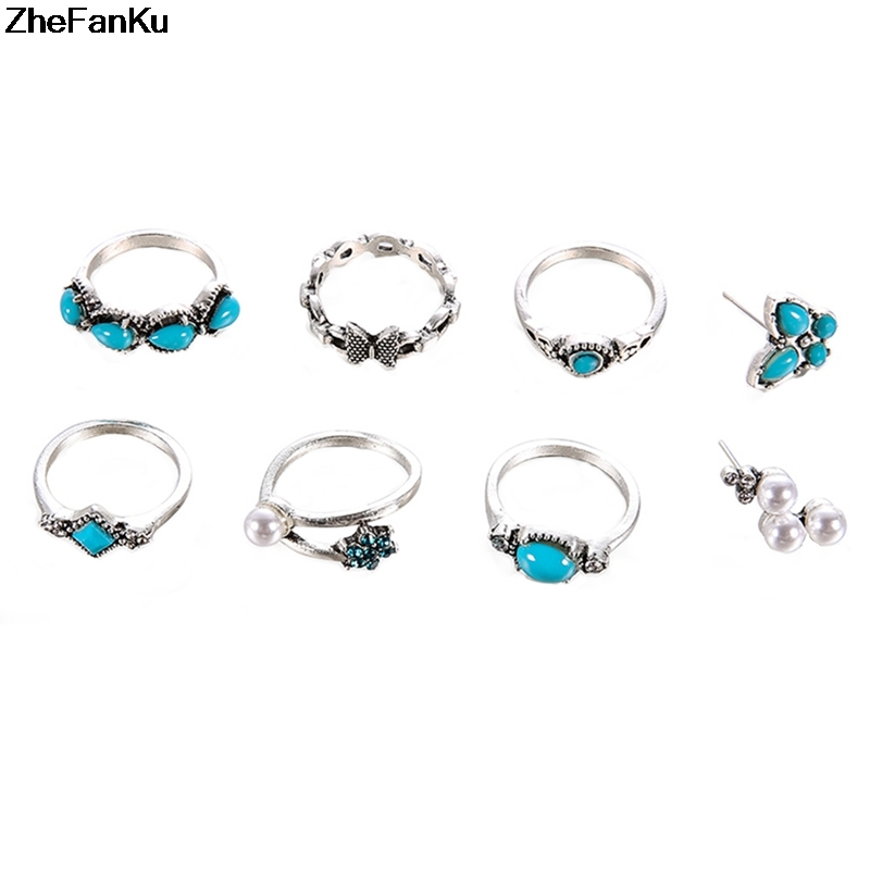 8pcs Women Knuckle Rings...