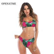 OPENATME Sexy Watermelon Knotted Bikini Suit High Waist Naked back Beach Tops Cut Out Padded Women Swimsuit Push Up Swimwear
