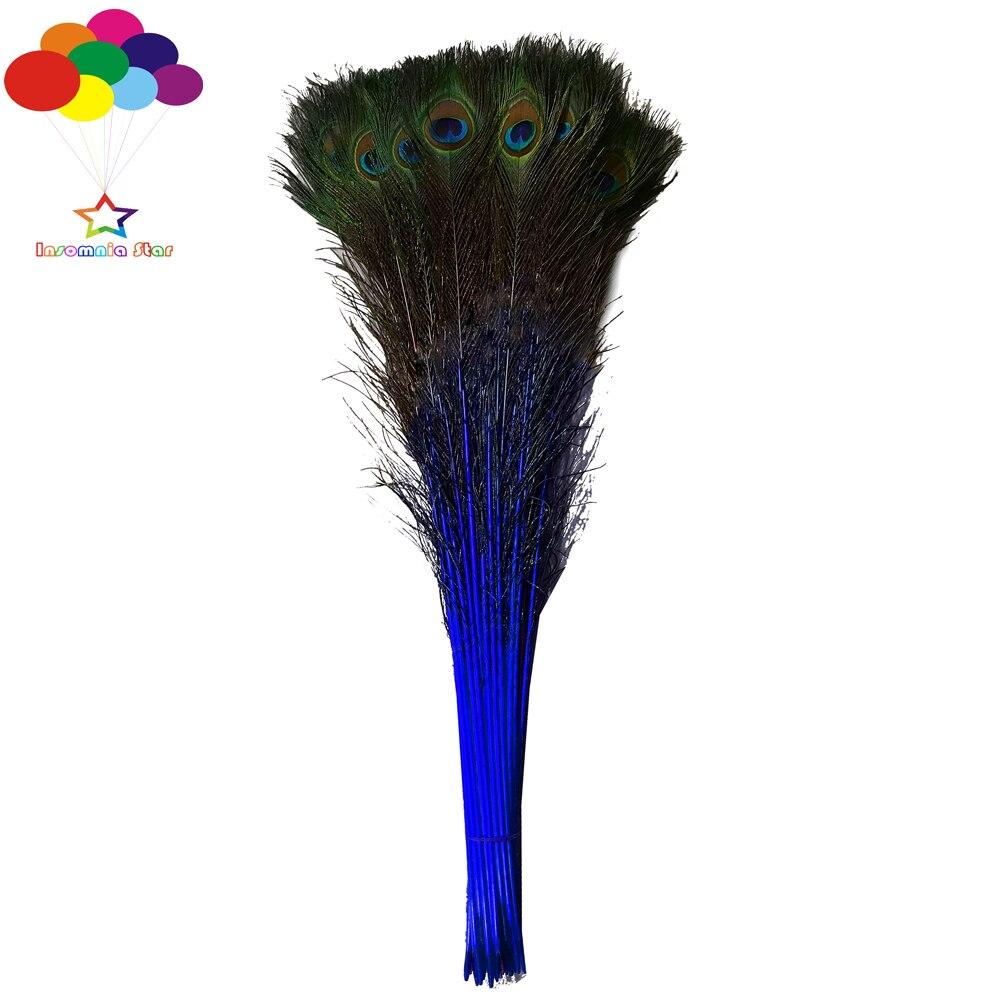 Saphir 100 pcs 100% Naturel Paon Plumes Teints 70-80 cm/28-32 pouce Bricolage carnaval costume masque coiffe accueil artisanat