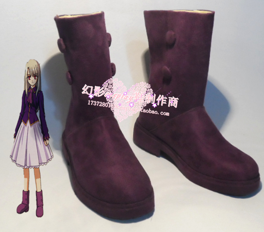 Fate Stay Night Illyasviel Purple Short Cosplay Shoes Boots H016