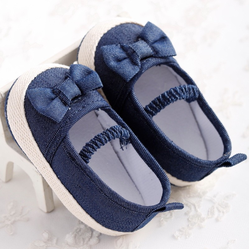 Lovely Newborn Baby Girl Kids shoes Prewalker Soft Soled Shoes Jeans Blue Bow Princess Mary Jane shoes for 0-18M