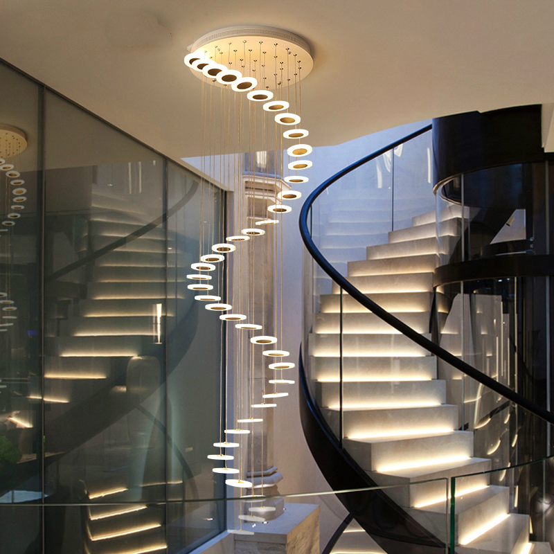 Modern LED Chandelier Living Room Pendant Lamp Bedroom Fixtures Stairs Suspended Lights Restaurant Hanging Lighting Luminaire