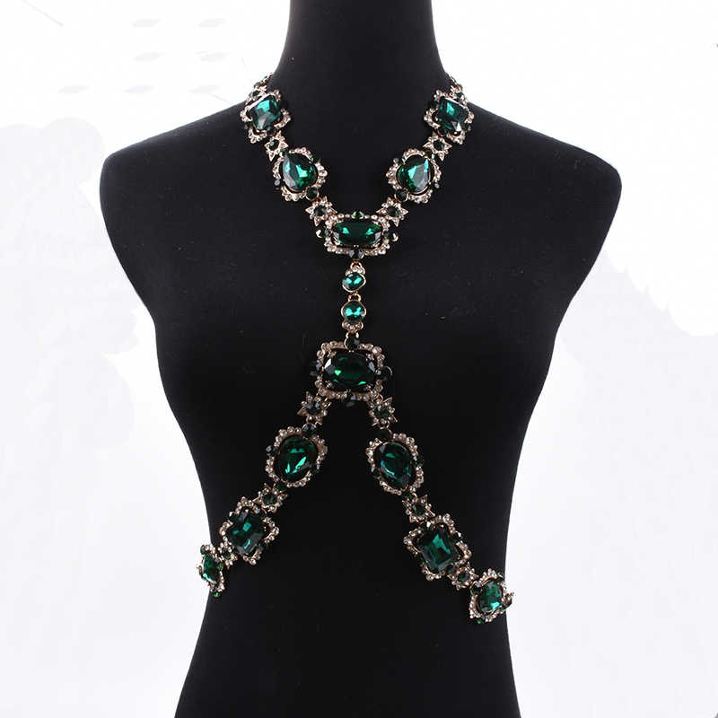 PPG&PGG Bohomian Fashion Body Jewelry Green Crystal Choker Maxi Chain Statement Necklace For Women