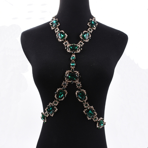 Image 2 - Bohomian Green Crystal Body Necklace Women Body Jewelry Waist Chain Necklace Femme Big Choker Maxi Statement Necklace For Women
